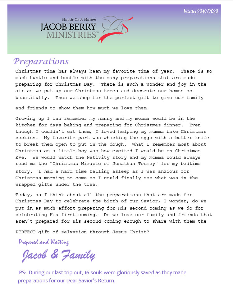 Fall, 2019 Jacob Berry Ministries Newsletter